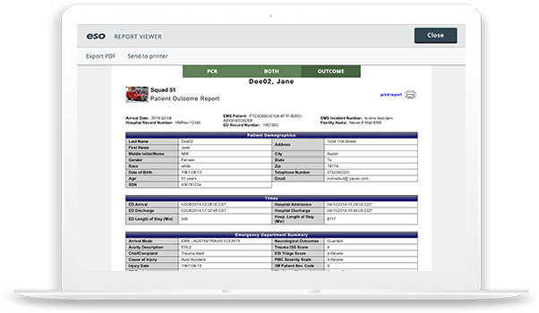 screenshot of ESO Patient Outcome report